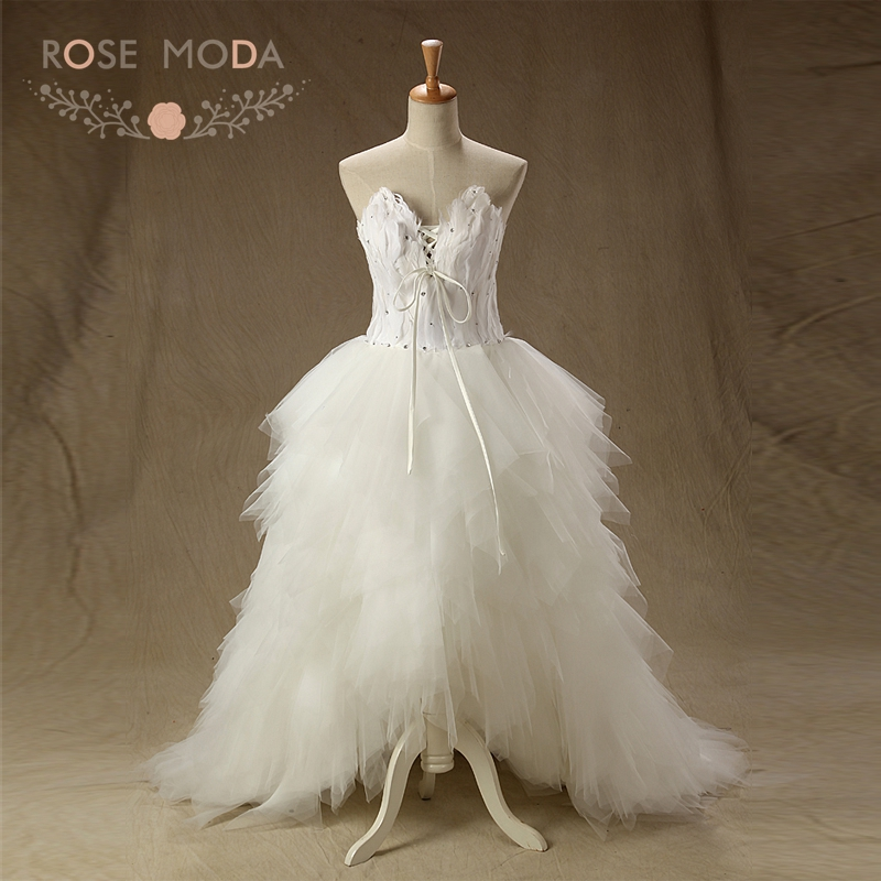Rose Moda V Neck Feathery Wedding Dress Lace Up Back High Low Wedding Dresses with Feathers