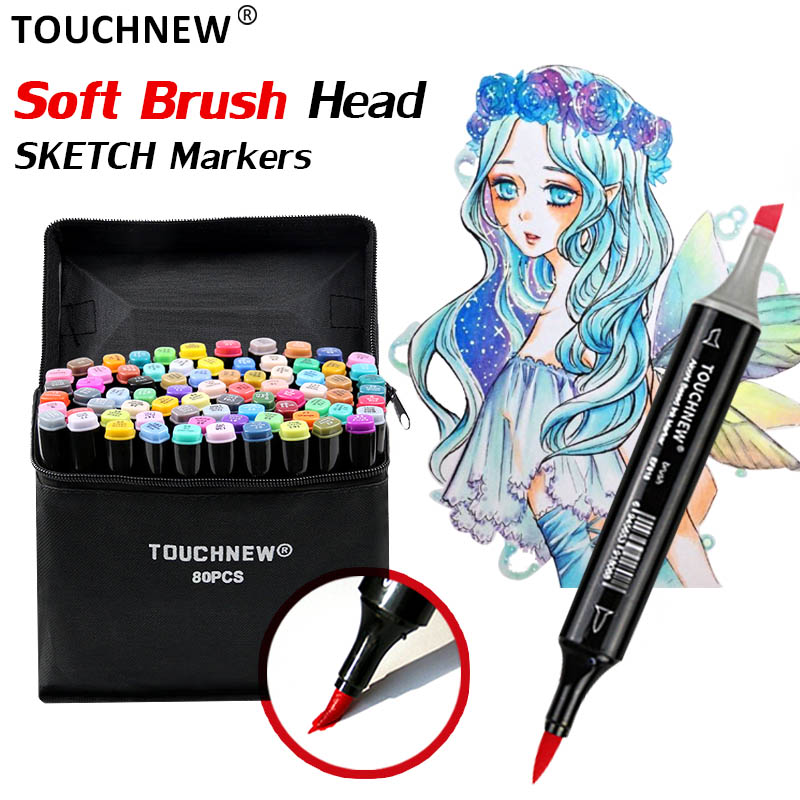 TOUCHNEW Markers Set Brush Pen Sketch Double Head Brush Markers Alcohol Markers Manga Drawing Animation Design Art SuppliesTOUCHNEW Markers Set Brush Pen Sketch Double Head Brush Markers Alcohol Markers Manga Drawing Animation Design Art Supplies