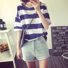 Fashion Women Casual Loose T shirt Basic T-shirts Summer Striped Tops Tees