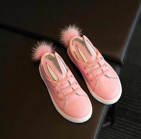 2016 cartoon PU shoes sneakers cute girls with bunny ears Child Hairball casual shoes size 26