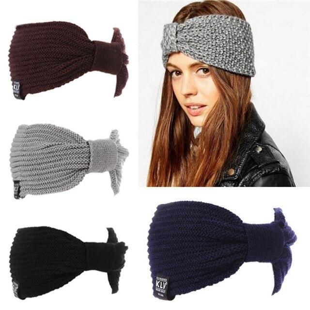 Fasce invernali womens scaldino dell orecchio crochet turbante maglia di  lana testa wrap hairband della ac18612c48f4