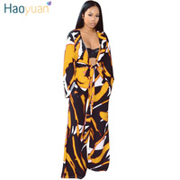 HAOYUAN Sexy 2 Piece Set Women Long Cardigan Tops+Wide Leg Pants Suits Casual Autumn Outfits Two Piece Clothes Matching Sets