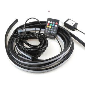 Image 4 - 4x LED de bande Flexible de sous éclairage de voiture APP/télécommande lampe datmosphère décorative rvb sous le système de sous corps de Tube Kit de lumière au néon