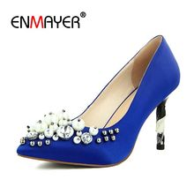 Enmayer  Mary Janes Cotton Fabric Thin Heels Super High Pointed Toe Casual Slip-On Jane Shoes Size 34-42 LY1319
