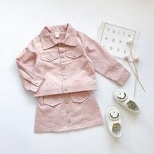 Garnitur dla dziewczynek formalny karbowany strój dla dzieci boże narodzenie Boutique odzież dla dziewczynki ubrania jesień nastoletni luksusowy płaszcz kostiumowy + spódnica