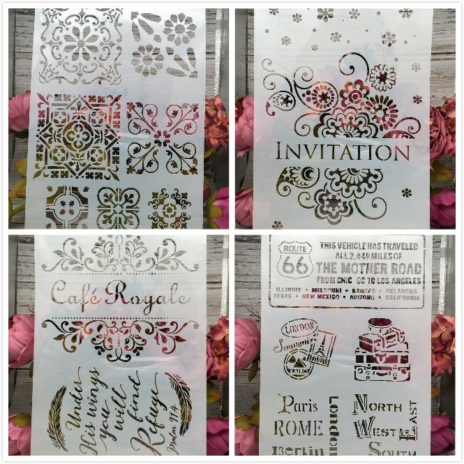 New 4Pcs/Set A4 Invitation Cafe DIY Layering Stencils Painting Scrapbook Coloring Embossing Album Decorative Card Template