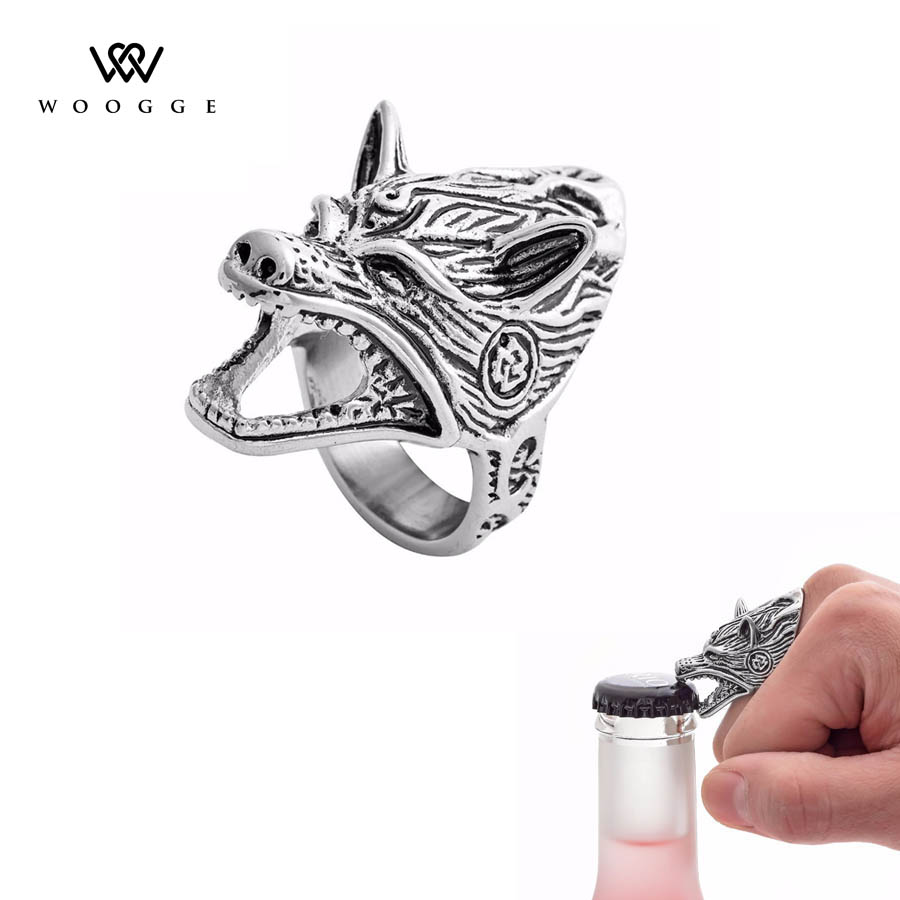 2018 Fashion Biker Jewelry Unique Design Norse Viking Wolf Ring Bottle Opener Bague Femme Stainless Steel Rings For Women Men vikingo anillos par hombre