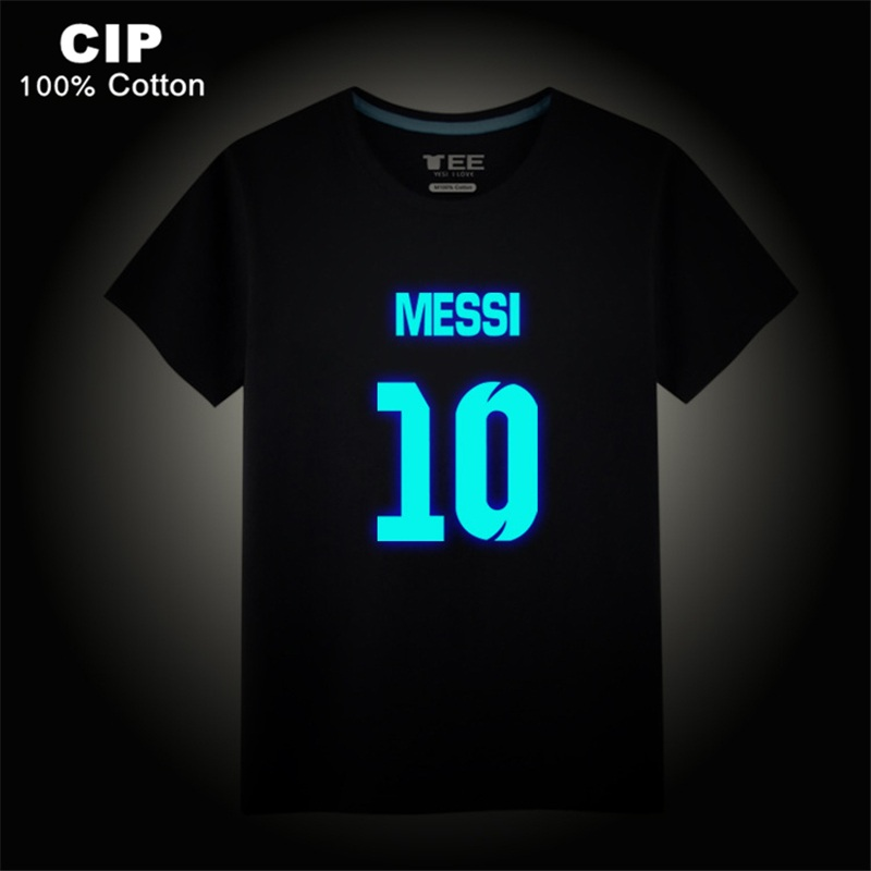 Messi T-shirt for Boys and Girls 2017 O-Neck Cotton Kids Tops Glow Color Print Children Brand Clothing Kids T Shirt Summer Tees crew neck camo print tees in army green