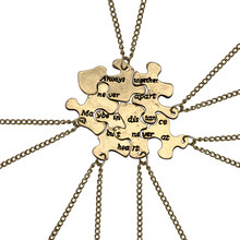 6pcs/set Vintage Best Friend Pendant Bronze Puzzle Irregular Geometry Necklace Women Bff Long Distance Friendship Jewelry Gifts(China)