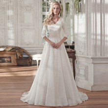 2018 Organza Three Quarter Sleeves Dresses Court Train