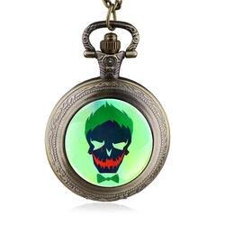 Винтаж стимпанк череп карманные часы цепочки и ожерелья отряд самоубийц античный кварц кулон цепи Ретро мужской подарок