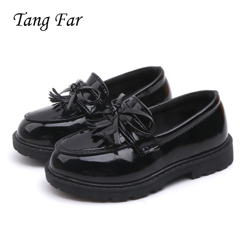 Princess Kids Leather Shoes For Girls Bow Casual Glitter Children Wedding Party Dress Dance Shoes Butterfly Knot Black