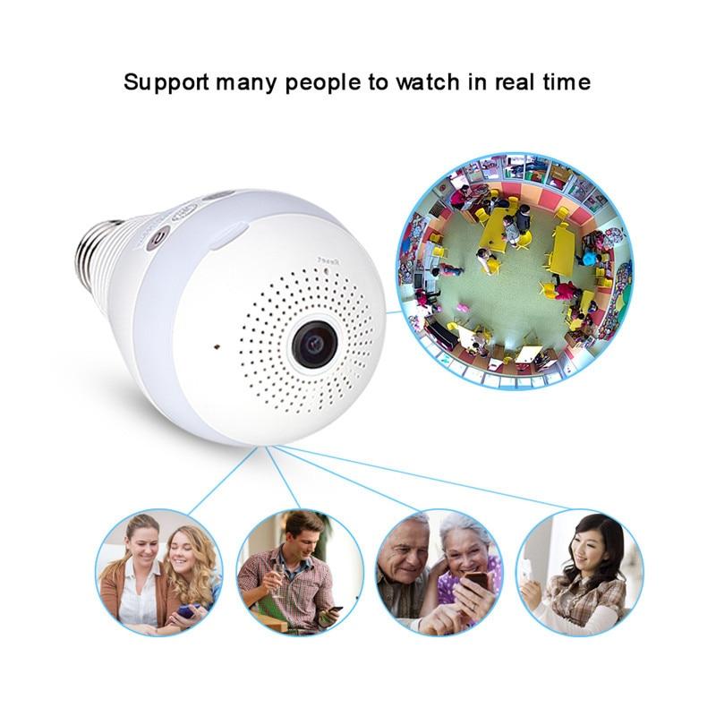 AGM LED ampoule lumière WiFi caméra Fisheye 960 P sans fil panoramique sécurité à domicile CCTV IP caméra 360 degrés nuit Vision lampe E27 - 5