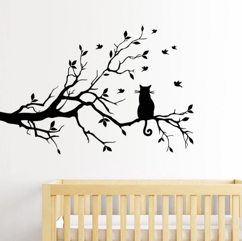 Wall stickers cat - Aliexpress Com Buy Cat On A Branch Tree Birds Wall Sticker Vinyl Art Decal Window Decal Stencil For Kids Room Decor Adesivo De Parede S M L From Reliable