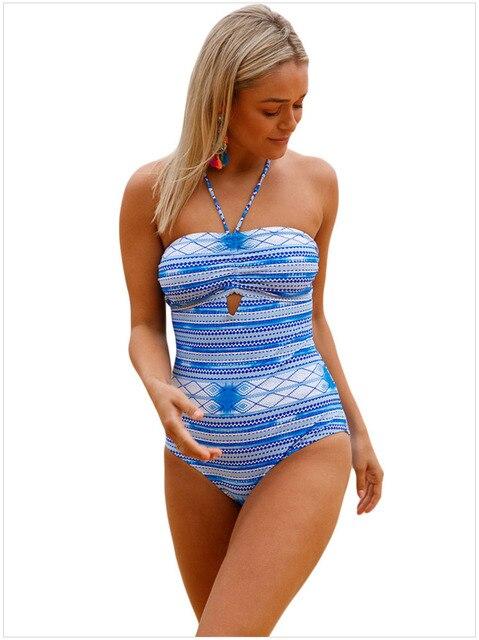 Free Shipping Printed Swimwear Women One Piece Sexy Swimsuits Striped Swimwear Halter Padded Monokini Swim Bathing Suit 4F410183