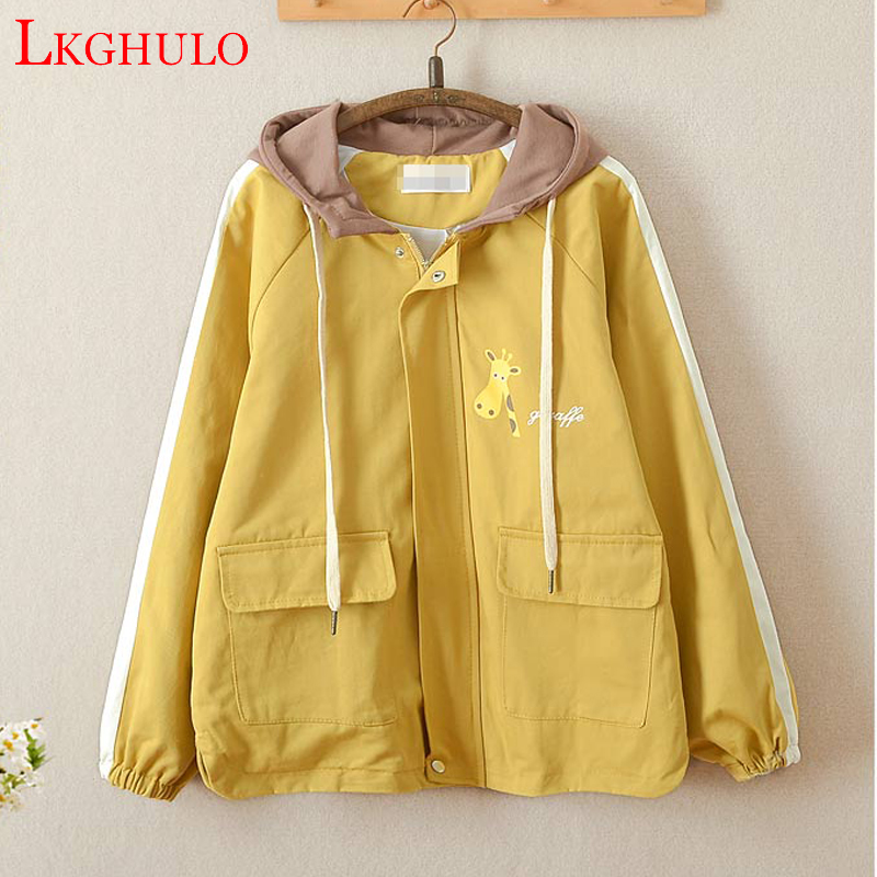 LKGHULO New Arrival Women Casual Cotton Trench Coat Autumn Animal Printed Pockets Zipper Hooded Collar Trench Coat A303