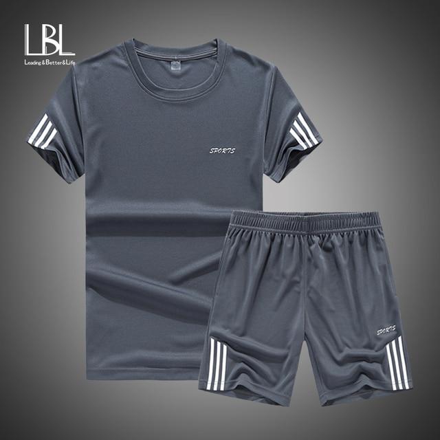 82f4b83e18d US $9.4 53% OFF 2019 Summer Set Men Casual Two Pieces Suit Short Sleeve T  shirt & Shorts Sets Male Streetwear Tracksuit Man Short Sportswear Set-in  ...