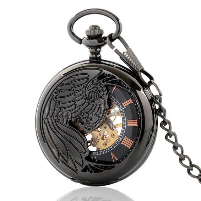 56975e8b2eef Negro antiguo Reloj de Bolsillo Para Hombre Mujeres Phoenix Colgante  Esqueleto Con Fob Cadena de Retro