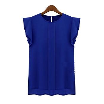 OL verano elegante mujer blusa Oficina señora sólido azul verde manga corta Camisa de gasa volantes Casual blusa superior Jersey