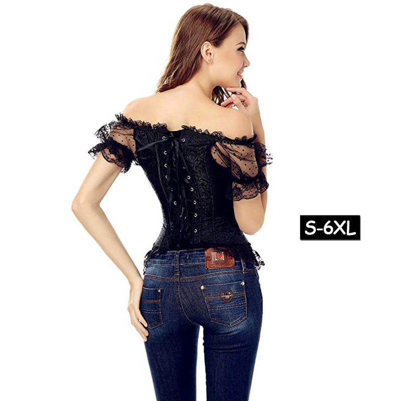 Image 4 - Womens Vintage Waist Slimming Corset Bustier Top Sexy Bride Lace Up Party Corselet Club Bodysuits Steampunk Plus Size Bustiers-in Bustiers & Corsets from Underwear & Sleepwears