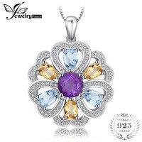 Jewelrypalace Цветочное сердце 4.1ct Природный аметист цитрин небо сине-белые топаз кулон 925 серебро не incluede цепи
