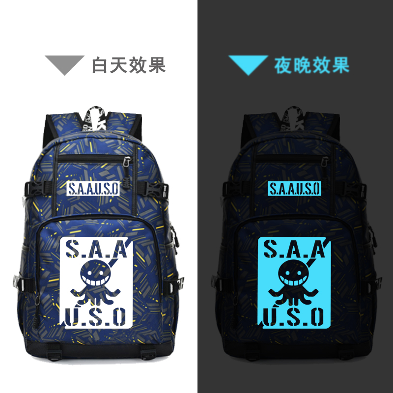 SAAUSO Assassination Classroom USB Charging Laptop Backpack Anime Unisex Travel Backpack Canvas School Bags Waterproof Bagpack