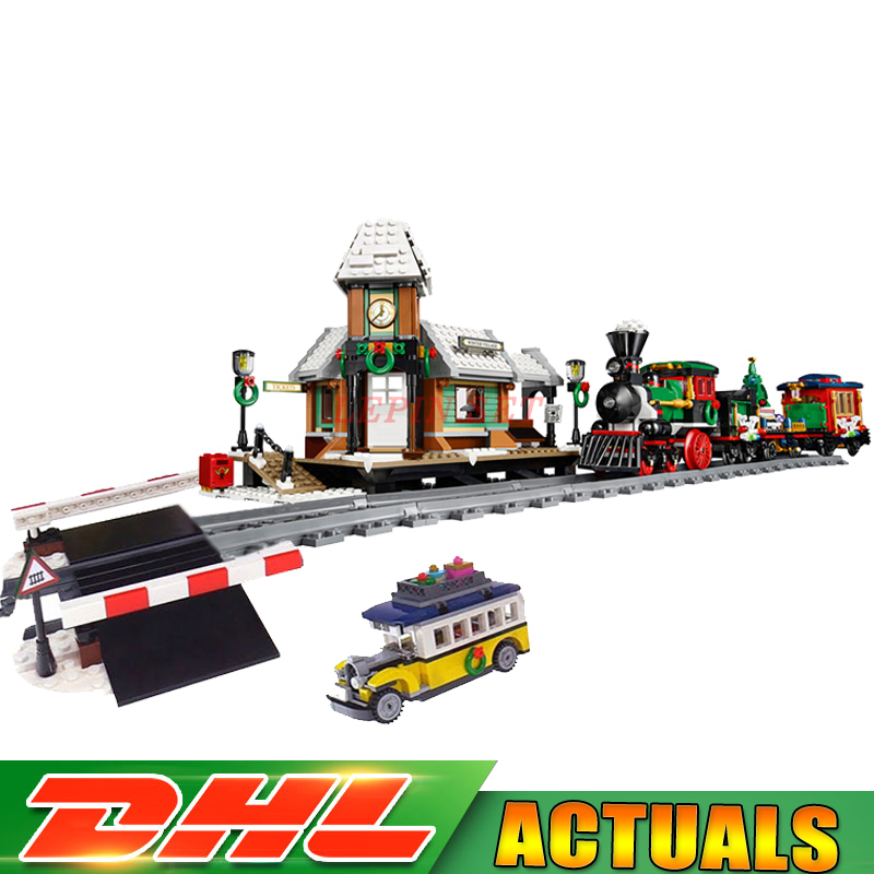 DHL Lepin 36001 Winter Holiday Train+36011 Winter Village Train Educational Building Blocks Toys Gifts Clone with 10254 10259 dhl lepin 36001 winter holiday train 36011 winter village train educational building blocks toys gifts clone with 10254 10259