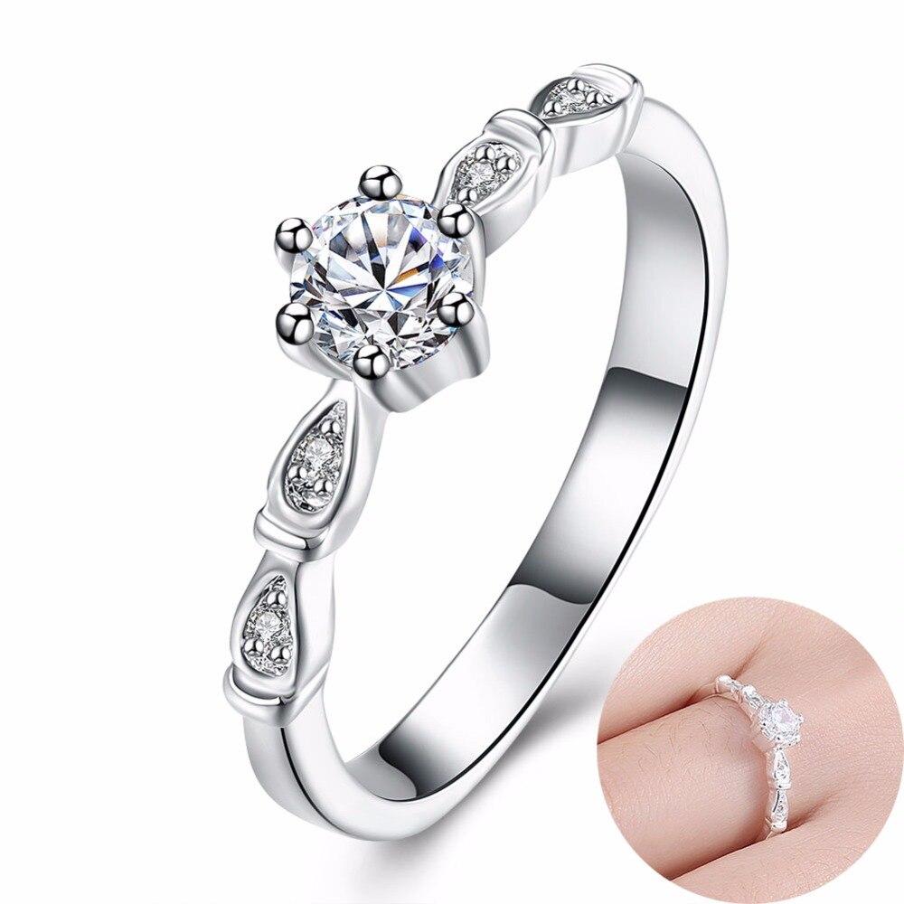 Wedding Ring Inlaid Shiny Zircon Ring Women Girl Beautiful Engagement Ring  Imitation Diamonds Jewelry Brand Accessories