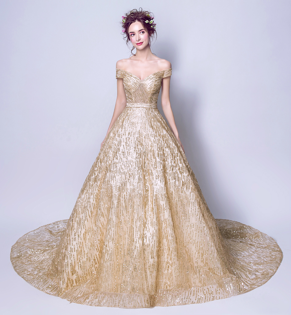 Luxury Gold Evening Dress The Bride Banquet Elegant Long Tailed ...