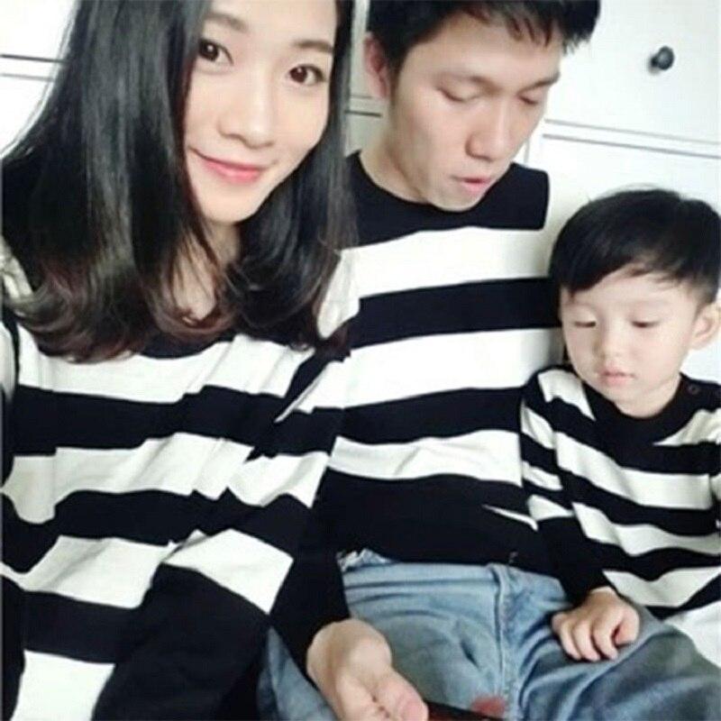 Семья Свитеры для женщин Одежда для детей и родителей Пуловеры для женщин Одинаковая семейная одежда из хлопка в полоску с длинными рукавам... ...