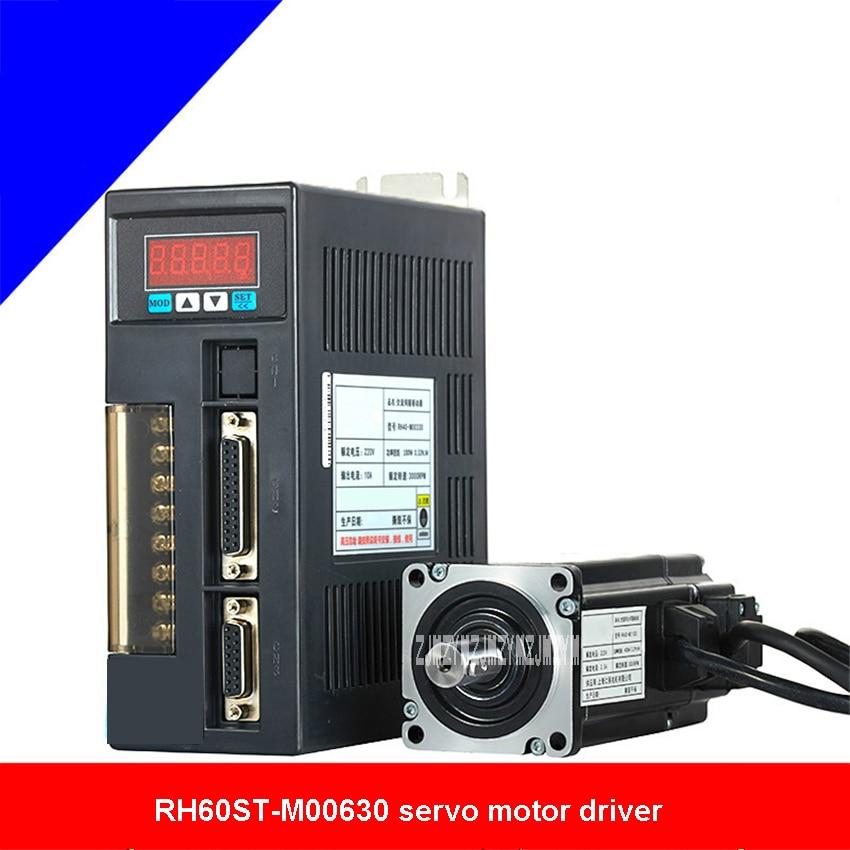 Single-Phase AC Servo Motor Drive RH60ST-M00630 0.64N.M 3000r/min Servo Motor Driver Set With 3M Extension Cord 110V/220V 200W new original 220v 200w 3 axis mr j4w3 222b ac servo drive