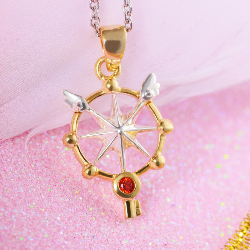 Sakura Card Captor 925 Silver Necklace Wand Key Star Pendant Japanese Anime Jewelry Girl Birthday Gift Christmas Cosplay Present