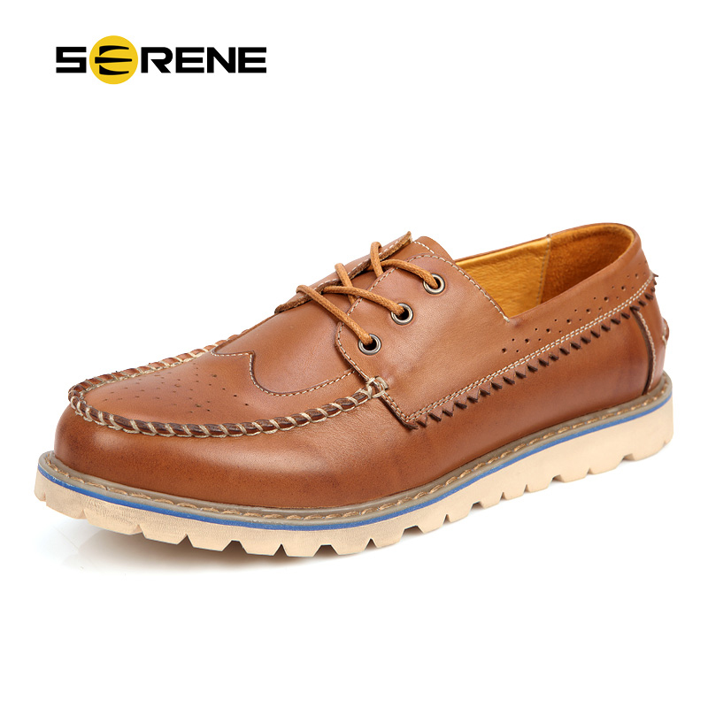SERENE Brand Carved Leather Shoes Mens Oxfords Shoes British Style Lace-Up Moccasins Bullock Business Casual Shoes For Man 6252 the jungle book