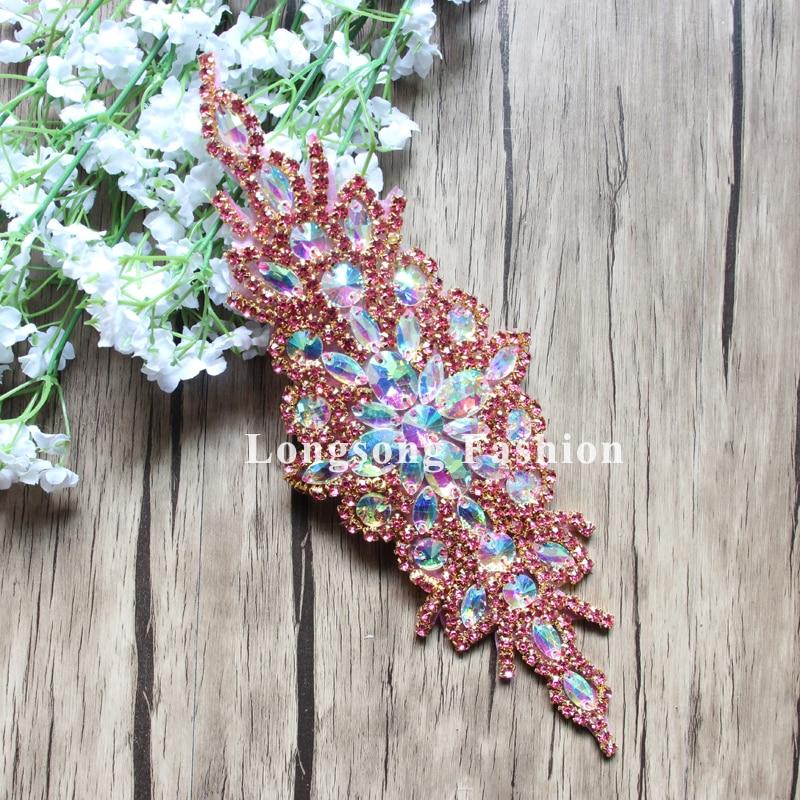 Free Shipping 10pcs 9.5'' Hot Pink Rhinestone Applique for Wedding Gown Bridal Sash Rhinestone Patch Trimming LSAP91905-4