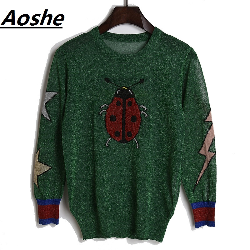 Aoshe Sweater Women 2018 New Fashion Design Ladybug Butterfly Jacquard Jumpers Casual Knitted Sweaters Tops Casual Pullover Pull