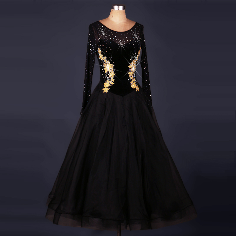 Customize Black Perspective Rhinestones  Ballroom Dance Dresses Woman Waltz Dress Standard Ballroom Dancing Clothes Social Dance