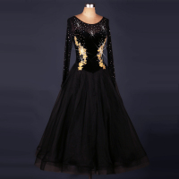 customize black Perspective rhinestones ballroom dance dresses woman waltz dress Standard ballroom dancing clothes Social dance