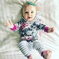 Kids clothes Vetement enfant fille Toddler clothes Children hoodie sets Girls winter suit Floral hoodie+striped pants suits