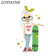 ZOTOONE Iron on Transfers Patch for Clothing Fashion Girl Patches Applique Sticker Clothes Morale Heat Badges E