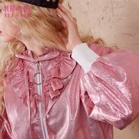 ELF SACK Autumn Women Shinny Artificial Leather Short Jackets Lolita Vintage Ruffle Womens Baseball Coats Girl's Sweet Outerwear