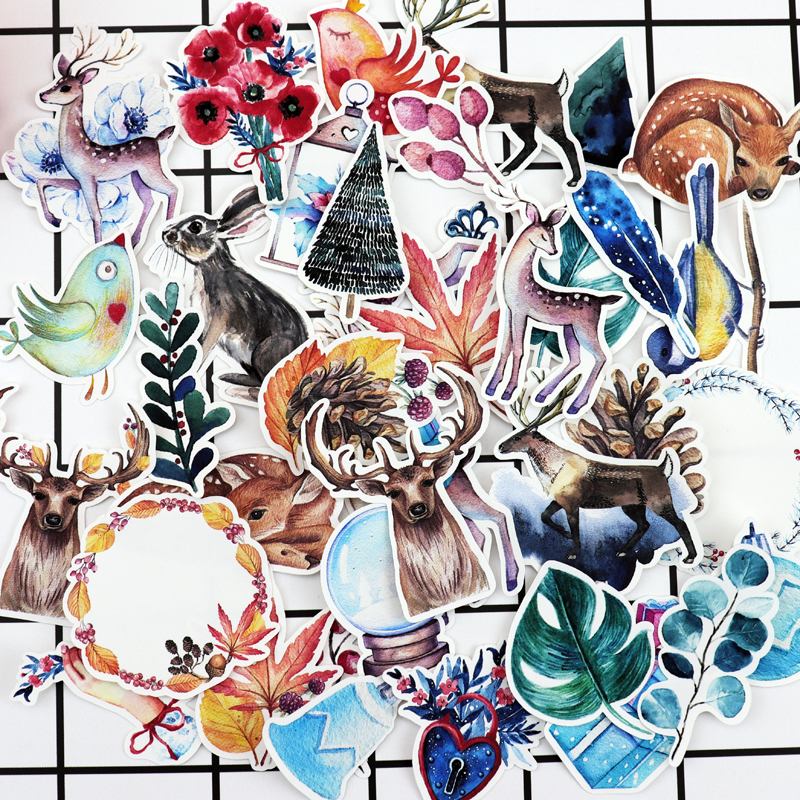 38pcs Hand Drawing Mysterious Christmas gift Deer sticker Diary Notebook Planner Scrapbooking  thin Animal Paper Sticker38pcs Hand Drawing Mysterious Christmas gift Deer sticker Diary Notebook Planner Scrapbooking  thin Animal Paper Sticker