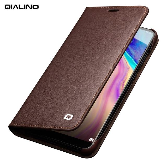 סגנון עסקי QIALINO חריץ כרטיס טלפון כיסוי עבור Huawei Ascend Case Flip ארנק עור אמיתי יוקרה עבור Huawei P20 P20 פרו