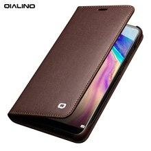 QIALINO Phong Cách Kinh Doanh Khe Cắm Thẻ Điện Thoại Bìa đối với Huawei Ascend P20 Luxury Genuine Leather Wallet Lật Trường Hợp cho Huawei P20 Pro