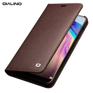 Image 1 - QIALINO funda de teléfono con ranura para tarjetas para Huawei Ascend P20, billetera de cuero genuino de lujo, funda con tapa para Huawei P20 Pro