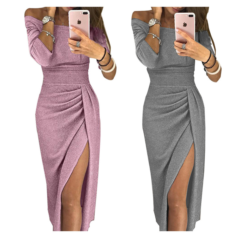 S-<font><b>4XL</b></font> Bright Silk <font><b>Sexy</b></font> Summer <font><b>Dress</b></font> Women Maxi <font><b>Dress</b></font> Bodycon Side Split Evening Robe Party Long Elegant Off Shoulder <font><b>Club</b></font> Pencil image