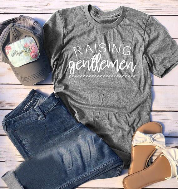 e14511b76 Raising Gentlemen #Boymom Gender Reveal Shirt Mom gift mother day grunge tumblr  slogan cotton tee