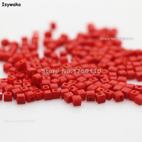 Isywaka 1980pcs Cube 2mm Non Hyaline Red Color Square Austria Crystal Bead Glass Beads Loose Spacer
