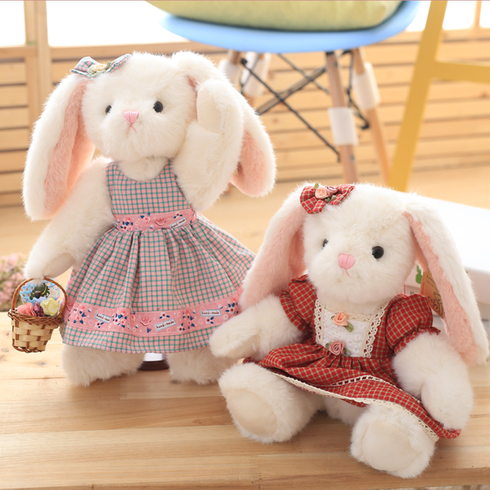 Super Cute 1Pc 35cm Pastoral style romantic birthday gift plush bunny toys Lovely Gid dress rabbit plush Stuffed animal Doll stuffed animal 120 cm cute love rabbit plush toy pink or purple floral love rabbit soft doll gift w2226