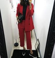 High quality women's clothing 2 pieces / sets of women's business pure color suit pants OL business long sleeved pants suit