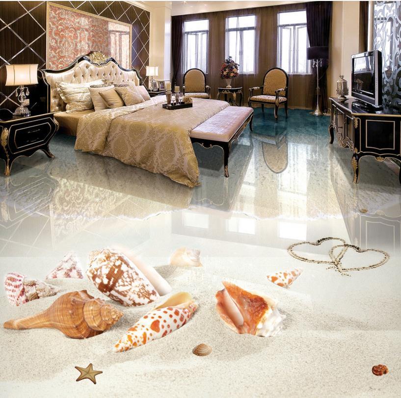 Customized 3d flooring beach ocean view 3d stereoscopic wallpaper wear self-adhesive waterproof 3d pvc wallpaper floor royal view place 3 паттайя